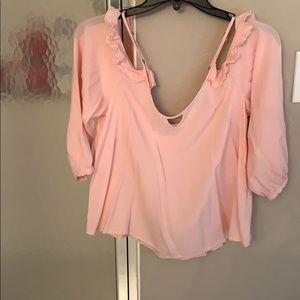 Hollister peek a boo pink blouse Size L